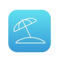Beach umbrella line icon vector image