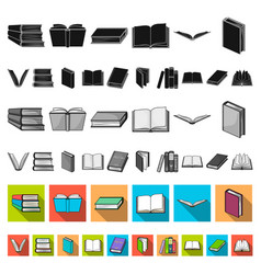 book in the binding flat icons in set collection vector image