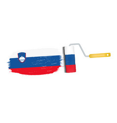 brush stroke with slovenia national flag isolated vector image
