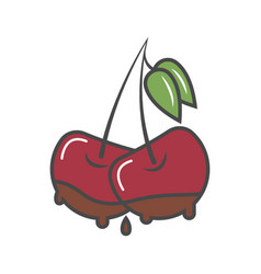 Cherry in chocolate isolated icon vector