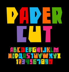 colorful paper cut alphabet cutout letters vector image
