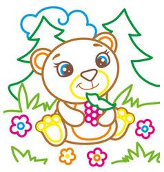 coloring book of bear eat raspberries vector image