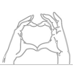 continuous line drawing heart shape love concept vector image
