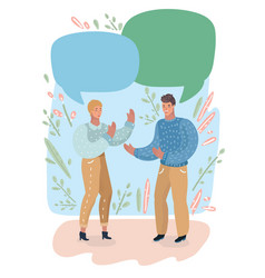 couple having conversation on empty speech bubble vector image