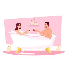 Couple in bathtub semi flat rgb color vector