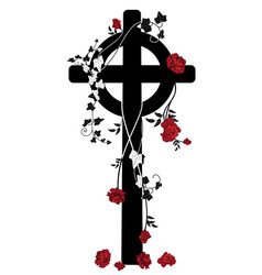 Crucifix roses and ivy vector