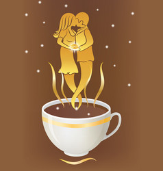 cup with coffee and pair of people vector image