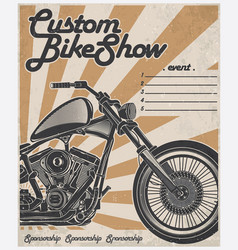custom bike show poster vector image