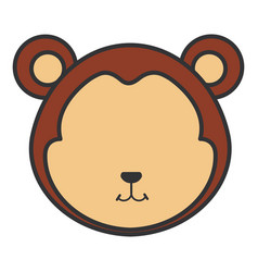 Cute and tender monkey head character vector