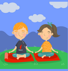 cute boy and girl sitting on the floor in a lotus vector image