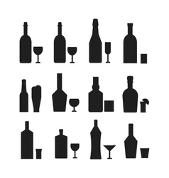 Different alcohol drink bottles black silhouette vector image