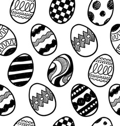doodle easter eggs pattern vector image