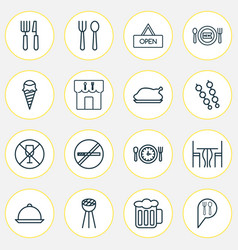 eating icons set with cutlery eating house vector image