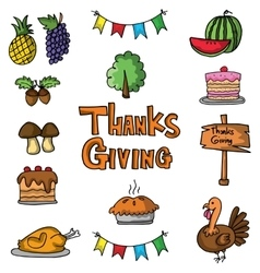 Element thanksgiving stock on doodles vector image