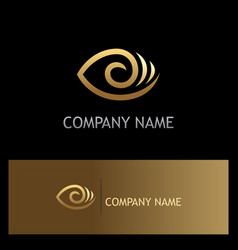 Eye optic lens gold logo vector