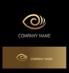 Eye optic lens gold logo vector