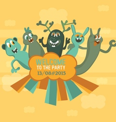 five monsters The original invitation to a party a vector image