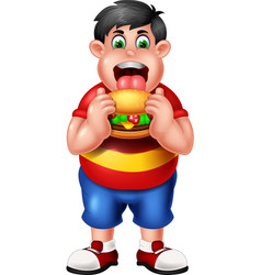 funny fat boy eating burger cartoon vector image