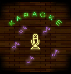 glowing light karaoke on brick background musical vector image