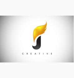 Gold j letter wings logo design with golden bird vector