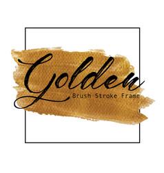 golden brush stroke frame vector image