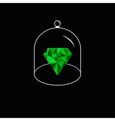 Green polygonal diamond Glass bell cover cap Half vector image