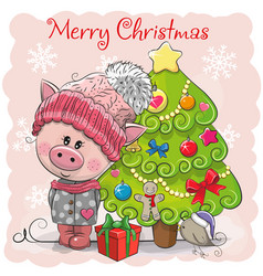 greeting card cute pig in a hat and scarf vector image