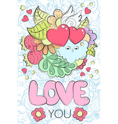 Greeting card for valentines day birthday save vector