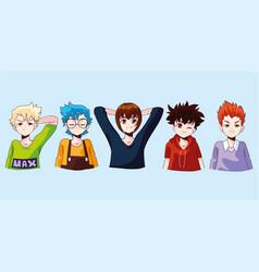 Group manga boys vector