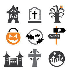 halloween icons set - scary pumpkin vector image