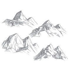 Hand drawing mountain peaks isolated retro etching vector