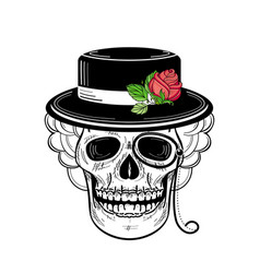 hand drawn sketch skull in hat rose monocle vector image vector image