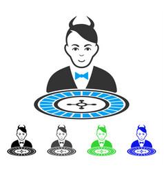 Happiness devil roulette dealer icon vector