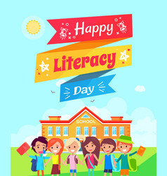 happy literacy day ribbon vector image