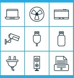Hardware icons set with photocopy plug vector