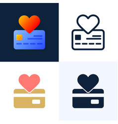 heart sign and credit card stock flat style vector image