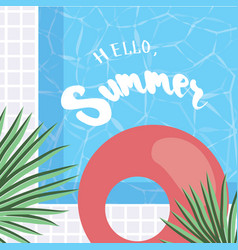 hello summer holiday greeting card vector image