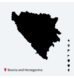 High detailed map of Bosnia and Herzegovina with vector image