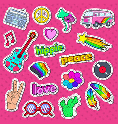 Hippie lifestyle stickers badges and patches vector