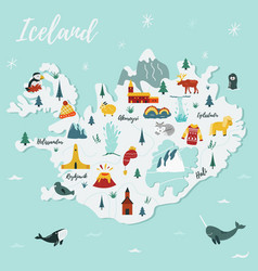 Iceland cartoon map travel vector