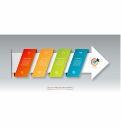 infographic arrow timeline template with 4 steps vector image