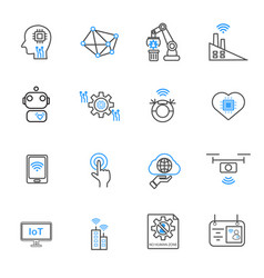 internet of things and automation robotic icons vector image