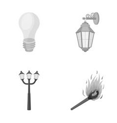 Led light street lamp matchlight source set vector