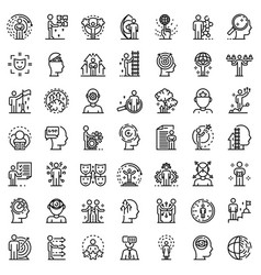 Life skills icons set outline style vector
