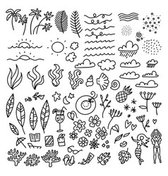 line art hand drawn doodle set summer time vector image