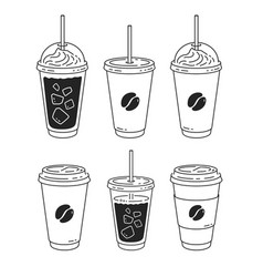 line art set disposable coffee cups vector image