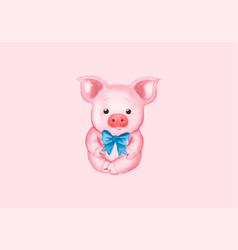 Little pig with a blue bow vector