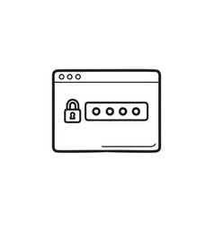 lock and password in browser window hand drawn vector image