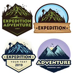 logo set mountain hiking climbing adventure vector image