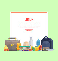 Lunch banner and different food vector